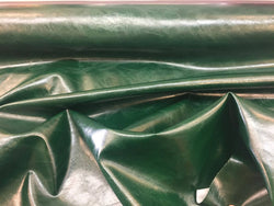 FAUX LEATHER Hunter Green Shinny Distressed Upholstery Vinyl- Sold By The Yard.
