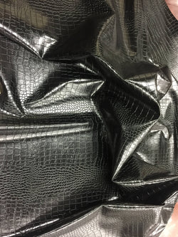 FAUX LEATHER Dragon-faux leather vinyl leather- 3D scales 2-tone black-sold by yard