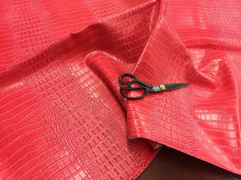FAUX LEATHER Big Nile crocodile leather vinyl fabric embossed upholstery alligator by yard Hot Pink