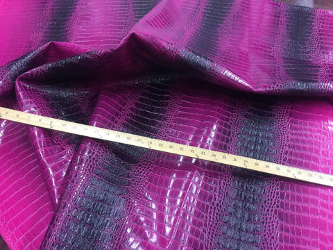 FAUX LEATHER Big Nile crocodile leather vinyl fabric embossed upholstery alligator by yard Purple Black