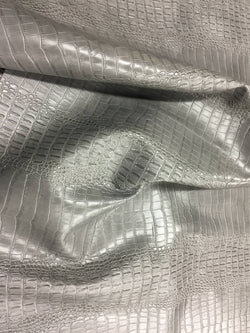 FAUX LEATHER Big Nile crocodile leather vinyl fabric embossed upholstery alligator Silver by yard.