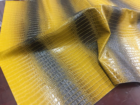 FAUX LEATHER Big Nile crocodile leather vinyl fabric embossed upholstery alligator by yard.