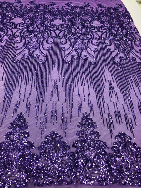 Shop Mesh Lace 4 Way Stretch Sequins Fabric ( LILAC ) Embroidered On A Mesh Lace Fabric For Dress Top Fashion-Prom-Fabric-Lace-Gown By The Yard