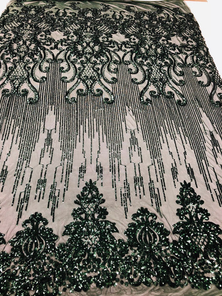Shop Mesh Lace 4 Way Stretch Sequins Fabric ( HUNTER GREEN ) Embroidered On A Mesh Lace Fabric For Dress Top Fashion-Prom-Fabric-Lace-Gown By The Yard