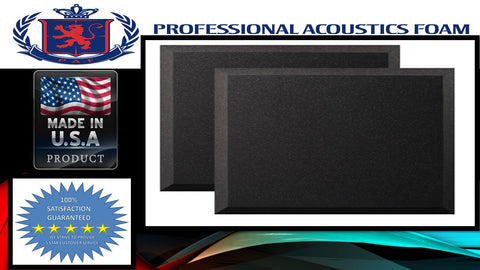 "Soundproof FoamProfessional Acoustics Foam 12 Pack Acoustic Studio Soundproofing Foam Bevel Tiles 24"" X 12"" X 1"""