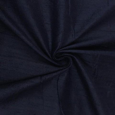 "00% Pure Silk Dupioni Fabric 54""Wide BTY Drape Blouse Dress Craft Sold By The Yard. Navy"