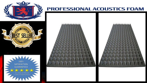 "Soundproof Foam Acoustic Foam (6 Pack Kit) - Pyramid 2"" 24"" x 48"" covers 48sq Ft - SoundProofing/Blocking/Absorbing Acoustical Foam - Made in the USA!"
