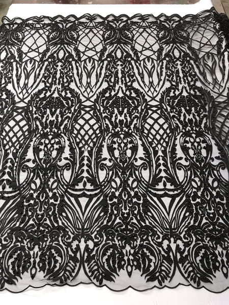 WEDDING LACE BLACK DAMASK DESIGN EMBROIDER WITH PEARLS ON A MESH-SOLD BY YARD