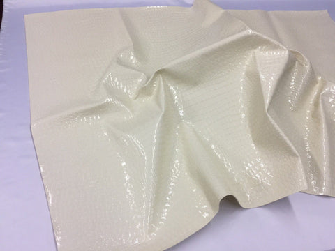 FAUX LEATHER SHINY ALLIGATOR EMBOSSED FAUX LEATHER UPHOLSTERY VINYL FABRIC BY YARD IVORY
