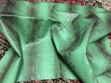 FAUX LEATHER VIPER SOPYTHANA EMBOSSED SNAKE SKIN VINYL LEATHER FABRIC UPHOLSTERY GREEN YRD