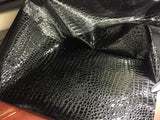FAUX LEATHER SHINY CROCODILE EMBOSSED FAUX LEATHER VINYL FABRIC BLACK UPHOLSTERY BY YARD