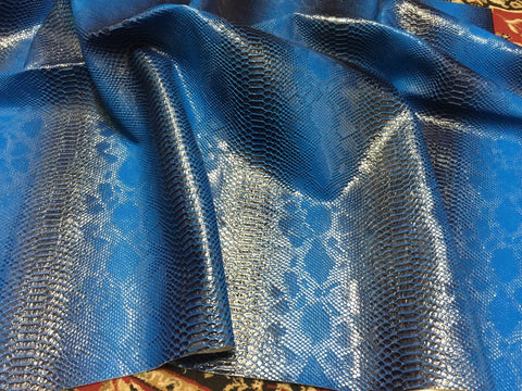 FAUX LEATHER VIPER SOPYTHANA EMBOSSED SNAKE SKIN VINYL LEATHER FABRIC UPHOLSTERY ROYAL YRD