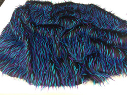 Luxurious Faux Fur Fabric Multicolor Black Blue Neon. Sold By The Yard