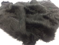 Luxurious Faux Fur Fabric Mongolian Design Black Sold By Yard