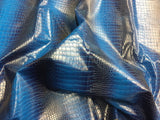 FAUX LEATHER DRAGON GATOR UPHOLSTERY VINYL FABRIC - Aquamarine Blue - BY YARD 2 TONE LUXURY