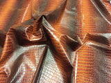 FAUX LEATHER DRAGON GATOR UPHOLSTERY VINYL FABRIC - Desert Brown - BY YARD 2 TONE LUXURY