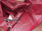 FAUX LEATHER SHINY ALLIGATOR EMBOSSED FAUX LEATHER UPHOLSTERY VINYL FABRIC BY YARD FUCHSIA