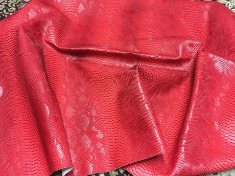 FAUX LEATHER VIPER SOPYTHANA EMBOSSED SNAKE SKIN VINYL LEATHER FABRIC UPHOLSTERY RED YRD