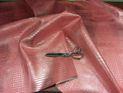 FAUX LEATHER METALLIC AFRICAN CROCODILE EMBOSSED VINYL FABRIC SOLD BY YARD 2 TONE PINK SILVER