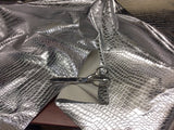 FAUX LEATHER SHINY CROCODILE EMBOSSED FAUX LEATHER VINYL FABRIC SILVER BY YARD