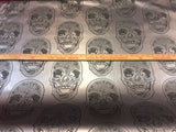 FAUX LEATHER Luxurious Skull Design Heavy Duty Upholstery Vinyl Fabric Gray. Sold By The Yard