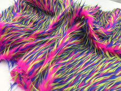 Luxurious Faux Fur Fabric Multicolor Fuschia Neon Blue. Sold By The Yard