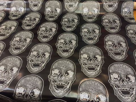 FAUX LEATHER Luxurious Skull Design Heavy Duty Upholstery Fabric Black White. Sold By Yard