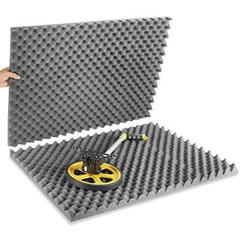 "Soundproof Foam 4 pack Acoustic Soundproofing Egg Crate Foam Tiles 2"" x 12 x 12 (charcoal)"