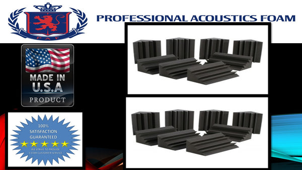 "Soundproof Foam Professional Acoustics Foam Set of 16 - Acoustic Foam Bass Trap Studio Soundproofing Corner Wall 12"" x 12"" x 12"""