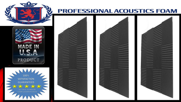 Soundproof Foam Professional Acoustics Foam 96 PACK Acoustic Wedge Soundproofing Wall Tiles 12 X 12 X 1 inch, Made in USA