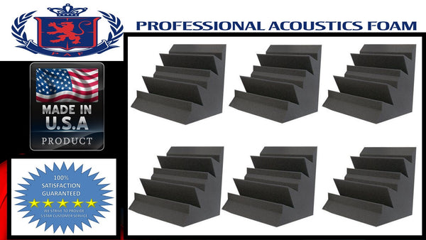 "Soundproof Foam Professional Acoustics Foam Set of 6 - Acoustic Foam Bass Trap Studio Soundproofing Corner Wall 12"" x 12"" x 12"""