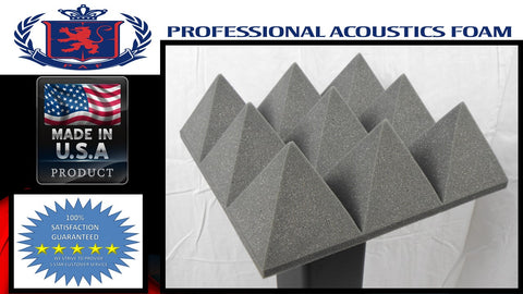 "Soundproof Foam Professional Acoustic Foam 4"" Pyramid Foam Charcoal 12x12 1 pack of 24 pieces"