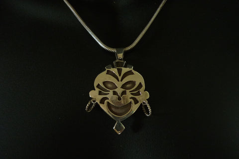 Silver Happy Mask Pendant