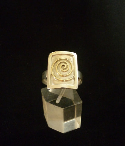 Ring Sterling Silver & Gold Swirl