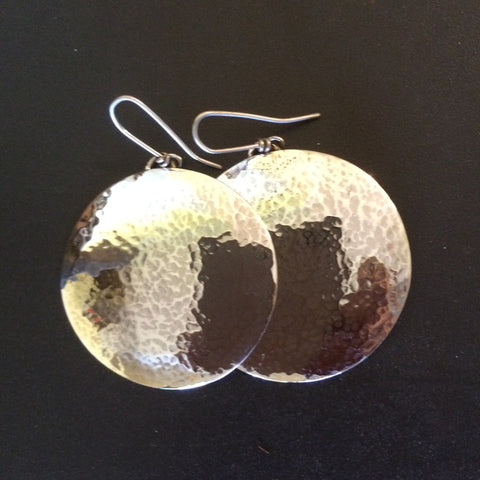 Beaten Sterling Silver Disc Earrings Sm