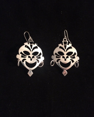 Silver Mask Earrings