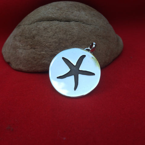 Sterling Silver Seastar Disc Pendant