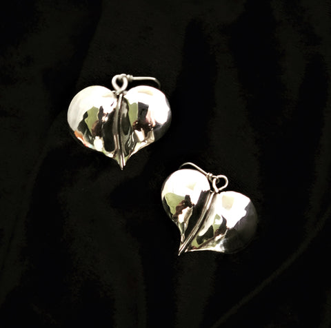 Silver Heart Leaf Earings