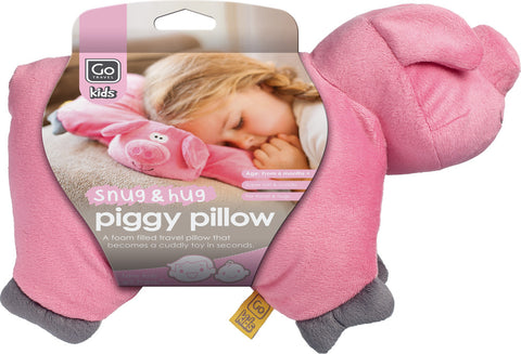 Go Travel Piggy Foldable Pink Pillow