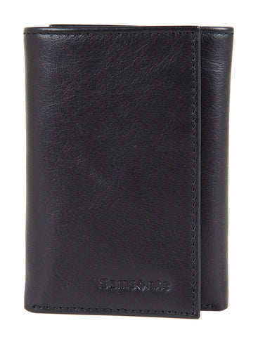 Samsonite RFID Trifold Black Leather Wallet