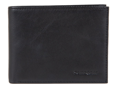 Samsonite RFID Black Leather Wallet with Credit Card Flap