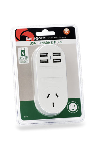 Samsonite 4x USB Travel Adaptors (2 AMP) USA
