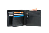 Samsonite RFID Black Leather Wallet - ID and Coin Pocket with 7 RFID Credit Card Slots