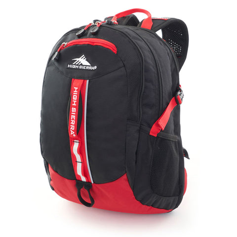 "High Sierra Pursuit 15"" Laptop Black/Crimson Backpack"