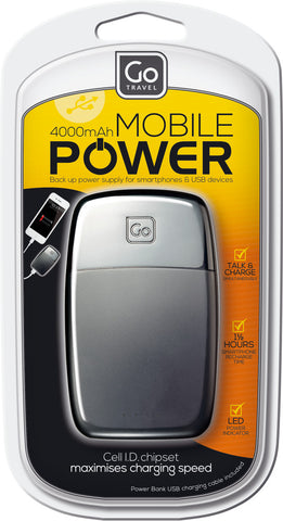 Go Travel Power Bank Black 4000mAh