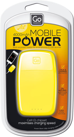 Go Travel Power Bank Yellow 4000mAh