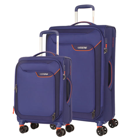 American Tourister Applite 4.0 Security Large 82cm And Cabin/Carry On 55cm Bordego Blue Soft Suitcase Set