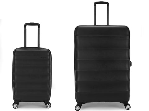 Antler Juno Expander Large 79cm And Cabin/Carry On 56cm Black Expandable Hard Suitcase Set