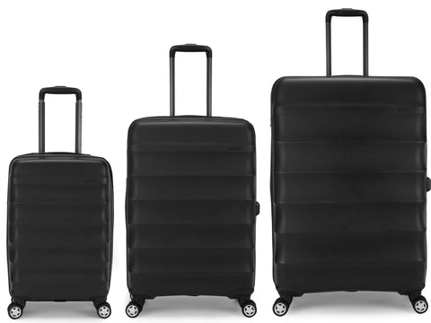 Antler Juno Expander Black 3 Piece Hard Suitcase Set