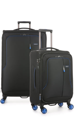 Antler Clarendon Large 82cm and Cabin/Carry On 56cm Expandable Black Soft Suitcase Set